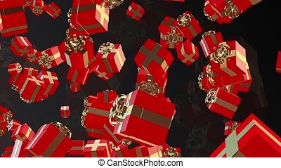 Flying Red Gift boxes on a black