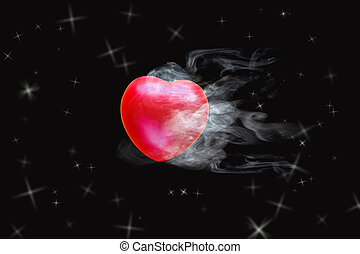 Flying red heart ball with smoke on dark