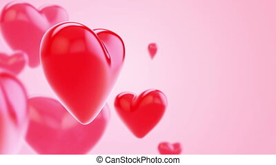 Flying red hearts pink background
