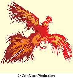Flying Red Rooster, editable vector illustration