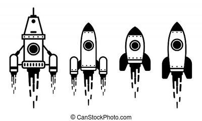 Flying rocket animated simple icon set
