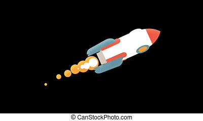 Flying rocket in flat style. Looped animation with alpha...