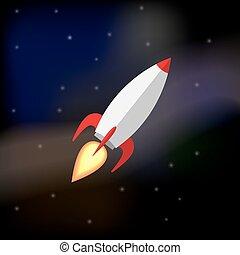 Flying rocket in space