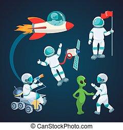 Flying rocket, spaceman with satellite, alien speaking to...