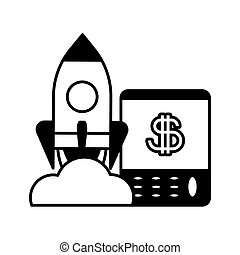 flying rocket with calculator, business start up