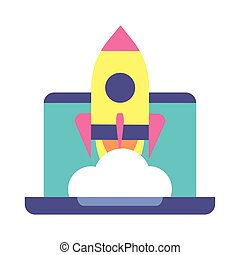 flying rocket with laptop, business start up