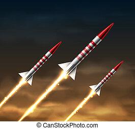 Flying rockets in night sky. Eps 10