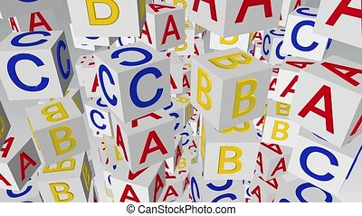 Flying rotating alphabet cubes