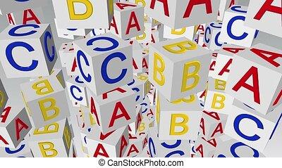 Flying rotating alphabet cubes