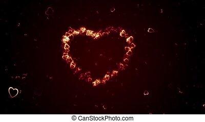 Flying rotating hearts