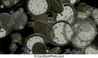 Flying, rotating stopwatches, chrono