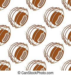 Flying rugby balls seamless pattern