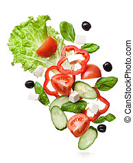 flying salad isolated in white