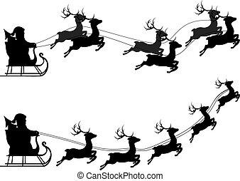 Flying Santa and Full Moon