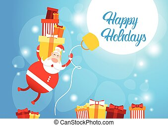 Flying Santa Claus Hold Big Present Box Merry Christmas...