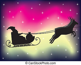 flying Santa Claus sleigh