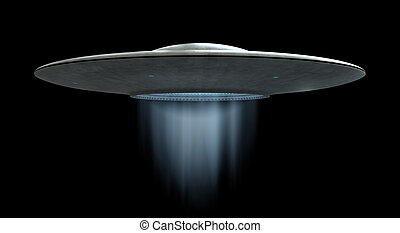 Flying saucer - 3d render of flying saucer ufo over black...