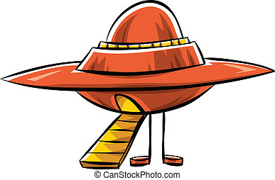 A cartoon flying saucer, landed with ramp extended.