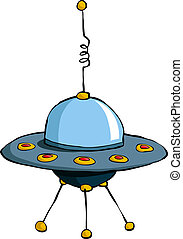 Flying saucer - A flying saucer on a white background,...