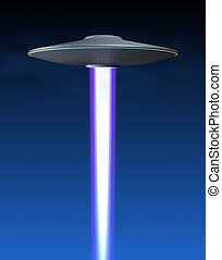 Flying saucer and energy beam in the sky