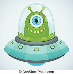 Flying saucer - Cartoon Character