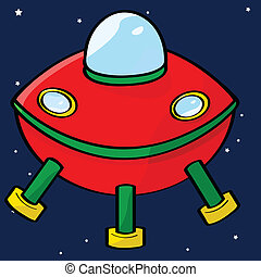 Flying saucer - Cartoon illustration of a red flying saucer...