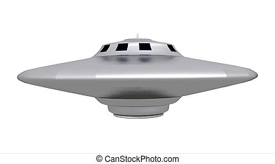 Flying Saucer - Computer generated 3D illustration with an...