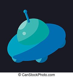 Flying Saucer icon, cartoon style