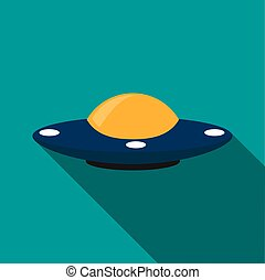 Flying saucer icon, flat style