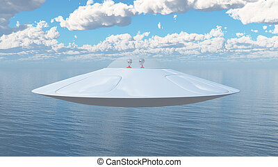 Flying saucer over the sea