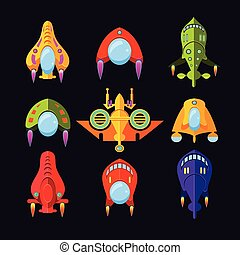 Flying Saucer, Spaceship And UFO Set. Illustration of a set...