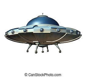 Flying saucer spaceship isolated on a white background as a classic ufo extraterrestrial hover craft from outer space as a science fiction symbol for probing alien spacecraft conspiracy theory.