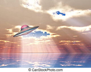 Flying saucer - u fo flying on sunbeams background
