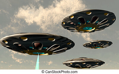 A plasma beam shoots down through the clouds from one of a convoy of flying saucers.