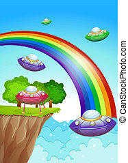 Flying saucers in the sky near the rainbow - Illustration of...