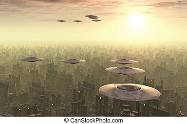 Flying saucers - Computer generated 3D illustration with...