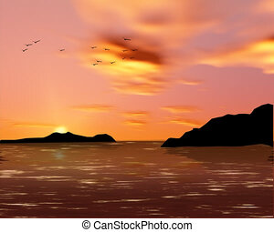seascape with seagulls flock animation