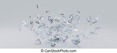 Flying Shards of glass - 3D Render of glass shards scattered...