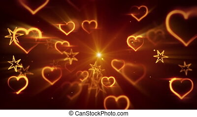 flying shiny heart shapes seamless loop background - flying...