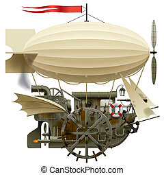 Flying Ship - Isolated raster version of vector image of the...