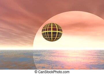 Flying Ship - Spherical Spaceship flying over an ocean