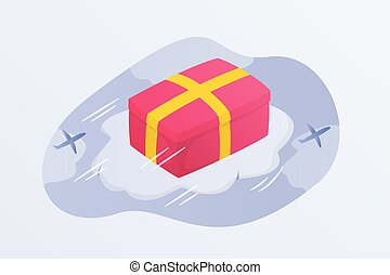 flying shipping box gift with red box on top of cloud with plane icon