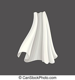 Flying silk textile. White soft cloth blowing in the wind. Flat vector for advertising poster of atelier or fabric production industry