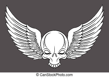 Flying Skull - Vector Cartoon