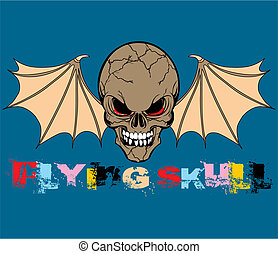 Flying Skull Vector Illustration