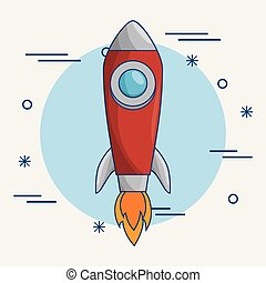 Flying skyrocket icon - A skyrocket icon over blue and white...