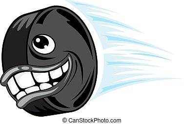 Flying smiling hockey puck - Smiling hockey puck in cartoon...