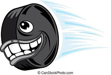 Flying smiling hockey puck - Smiling hockey puck in cartoon...