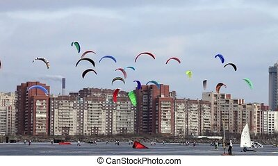 flying Snow kiting over a city
