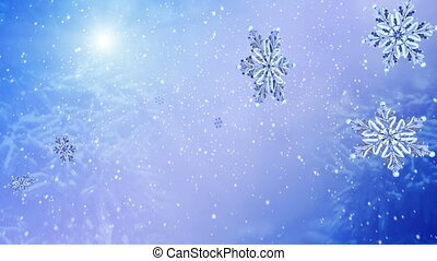 Flying group snowflake on blue snow background. Group of flying snowflakes on clear blue winter sky. Slow motion.